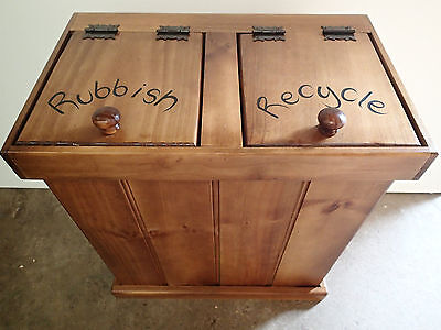 Rubbish And Recycle Timber Bin