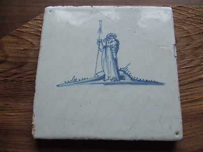 DELFT DECORATIVE TILE..   18th  CENTURY.  UNUSUAL DESIGN.     NICE CONDITION.