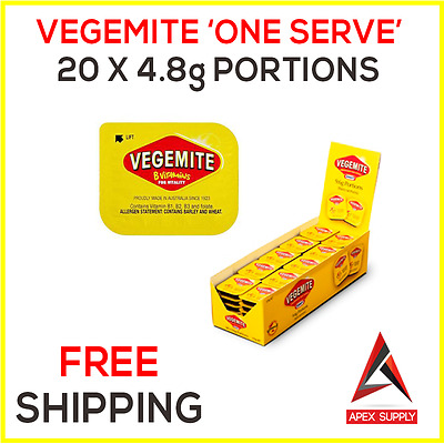 20 x Vegemite Single Serve Portions - Australian Breakfast Snack Motel EXP AUG17
