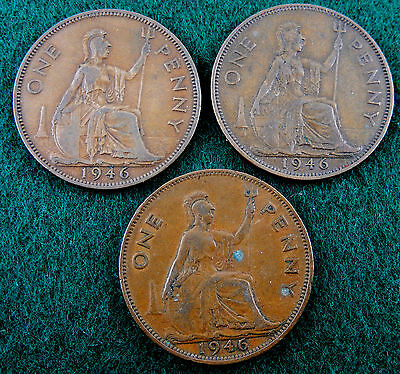 """1946 UK Great Britain One Penny Coin """"Lot of 3 Coins""""  KM#845   SB3436"""