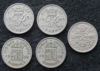 """1948, 1949, 1951 & 1958 Great Britain Six Pence Coins """"lot of 5 Coins""""   SB3642"""