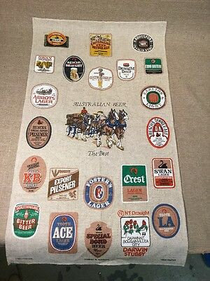 "Hand printed Australian Beer Linen / Cotton Cloth Decoration 31""x18"" - Fosters"