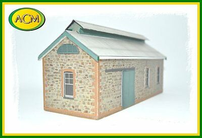 """HO scale model building 1:87 """"Stone Railway Goods Shed"""" ACM Aussie Card Models"""