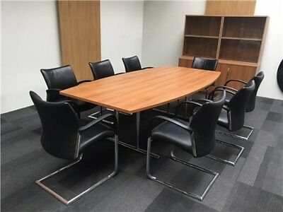 boardroom meeting office table and storage glass bookcase credenza
