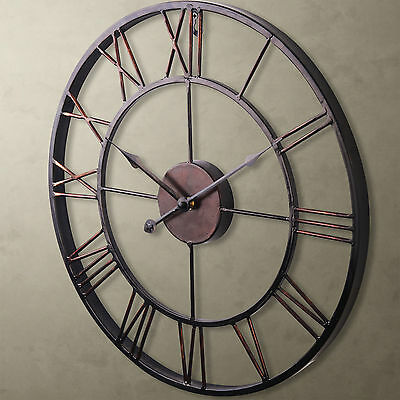 60cm Large Metal Wall Clock Rustic French Provincial Luxury Art Vintage