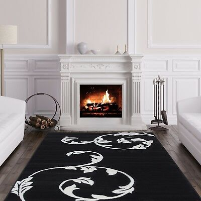 Black & White Floral Rug Contemporary Easy Living Small Large Rugs For House UK