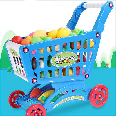 Hot Kids Childrens Shopping Trolley Cart Role Play Toy Plastic Xmas Gift
