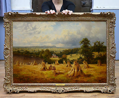 Large Fine 19th Century Oil Painting of Children in English Summer Wheat Field