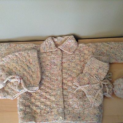 Baby Sweater And Matching Hat And Booties Handmade Crocheted Multi Color