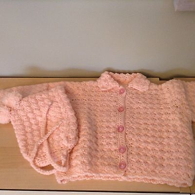Baby Sweater And Matching Hat Handmade Crocheted Pink