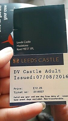 Adults Leeds Castle Annual Ticket Expire 7/8/17