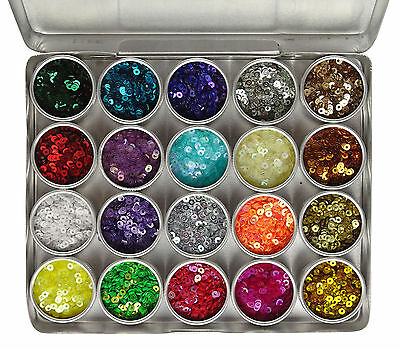 3mm Flat Tiny Sequins Kit In Aluminium Storage Container, 20 Assorted Colors