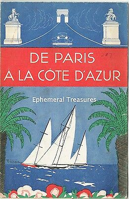 Attractive 1930s Brochure for Paris and the Cote D'Azur, France