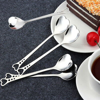 5Pcs Heart Shaped Coffee Tea Spoon Stainless Steel Cutlery Kitchen Set Home Tool