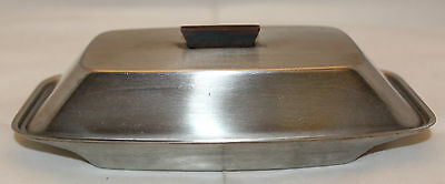 Mid Century Modern Stainless Steel Butter Dish Lid Teak Wooden Handle No Marking