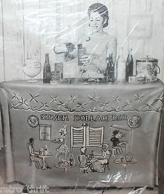 Silver Dollar Bar Cocktail VTG Convert-A-Bar Vinyl Ironing Board Cover Alvimar