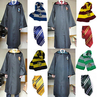 Harry Potter Robe+Wand+Scarf+Tie Set Gryffindor/Hufflepuff/Slytherin/Ravenclaw