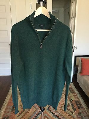 J Crew Mens Zip Neck Sweater Green Large Tall