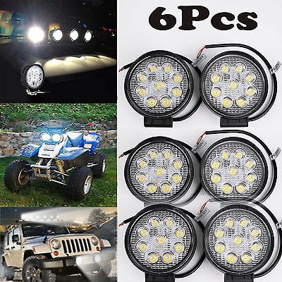 6X 4INCH 27W Round LED WORK LIGHT BAR Spot Flood OFFROAD DRIVING FOG LAMP 12V VP