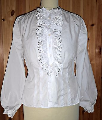 Vintage Victorian Edwardian Broderie Ruffle Front Blouse Shirt Top Uk 10 12