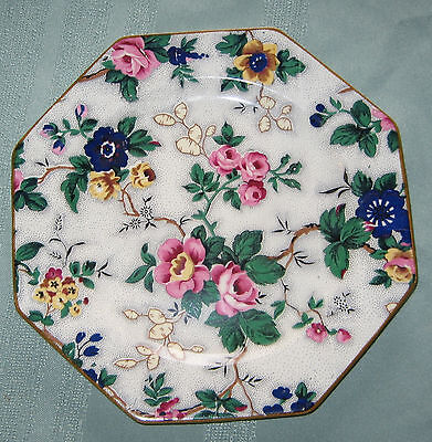 Crown Ducal Ware Octagonal Plate Floral Peony Pansy Wild Rose
