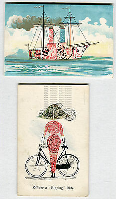 Two Early Unusual Printed Stamp Montage Postcards