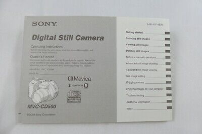 Sony Operating Instructions for MVC-CD500 Digital Still Camera (3-081-837-12)