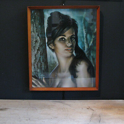 Retro Mid Century Framed and Glazed Print of Tina by J.H. Lynch Kitsch