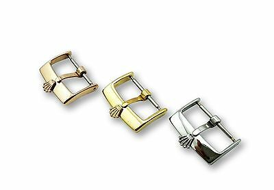 Stainless Steel Buckle Clasp for Rolex Leather Strap Watch SIlver Gold 16mm 18mm