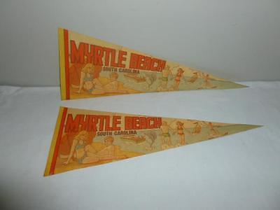 Two 1970s Souvenir Felt Pennants Myrtle Beach South Carolina-BL