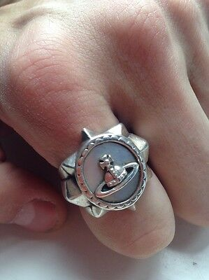 Authentic Vivienne Westwood Men's Hero Ring Silver / White Mother Of Pearl Large