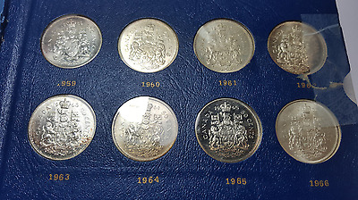1959-1998 Canada fifty cents/half dollar set - 9 silver coins - nice set
