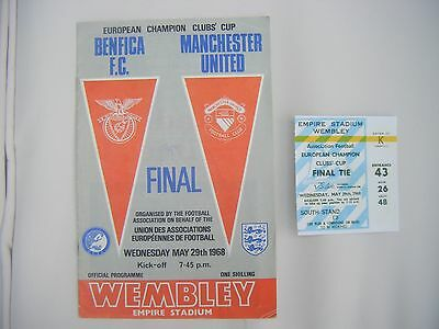 Manchester Utd V Benfica 1968 European Cup Final Programme & Reproduction Ticket