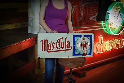 VINTAGE MA'S COLA TIN SIGN Soda Root Beer Country Store Gas Oil Station Advert