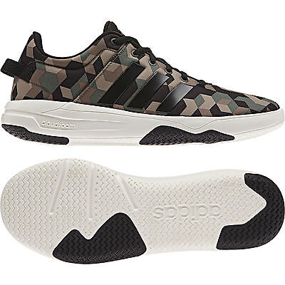 huge discount 442c5 bd013 Adidas Neo Men Army Running Shoes Cloudfoam Swish Khaki Camouflage AW4080  New