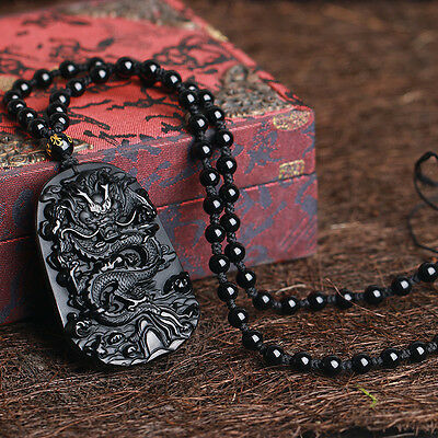 Chinese Feng Shui Natural Obsidian Dragon Amulet Lucky Pendant Beads Necklace