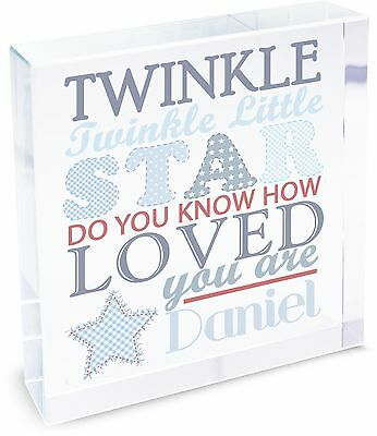 Personalised Twinkle Boys Large Crystal Token - Free Delivery