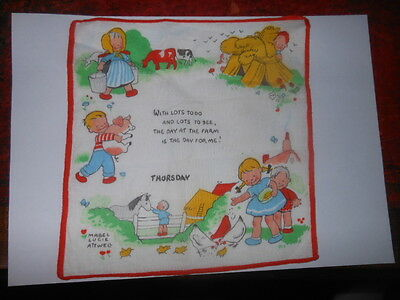 TWO Mabel Lucie Attwell Childrens Handkerchief Vintage - Thursday & Wednesday