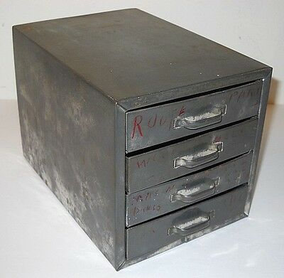 Vintage Small Metal 4-Drawer Cabinet *  Industrial Tabletop Storage Decor