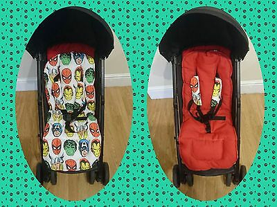 FREE POSTAGE marvel action brand new reversible universal pushchair liner set