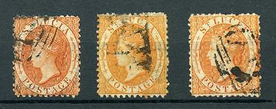 St Lucia 1864 perf 12½ (1s) all 3 shades SG14/14c FU