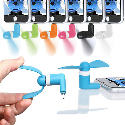 """Mini Fan with Micro USB and IOS Connector For Medion SmartPhone Life E5001 5"""""""