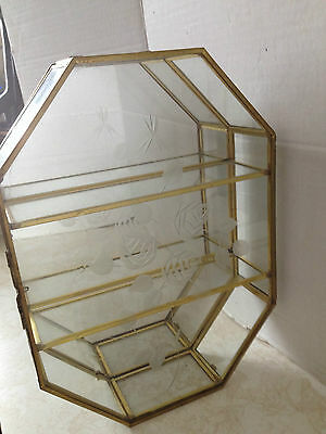 Vintage Curio Cabinet Glass, Brass Mirror Back Display Case w/ Etched Flowers