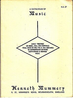 Kenneth Mummery A Catalogue of Music N.S. 37 1970 Early Treatises Harpsichord