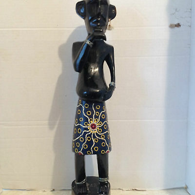 Vintage African Hand Carved Wood Tribal Statue Figurine