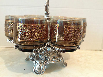 Vintage Set Of 6 Drinking Glasses With Silver Metal Stand/carrier