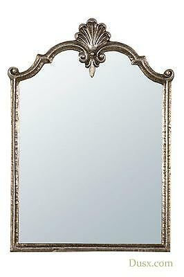 DUSX Rocaille Antique Gliver Rocaille Metal Framed Decorative Wall Mirror