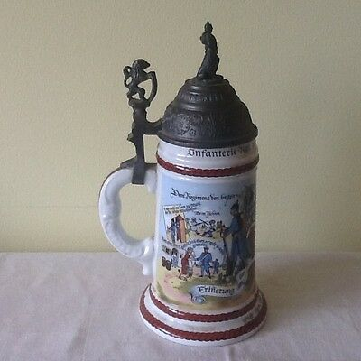 Infantrie Regimental beer stein, 1903/05 Munchen, Germany with lithopaines
