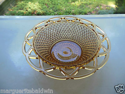 """Imperial Glass Amber Quilted Diamond Laced Edge 7 3/4"""" Footed Bowl"""