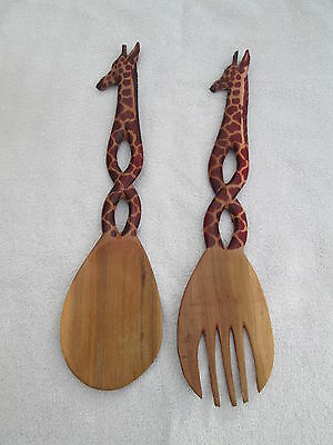 African Crafted Handmade Wooden salad Serving Spoon & fork Giraffe carved
